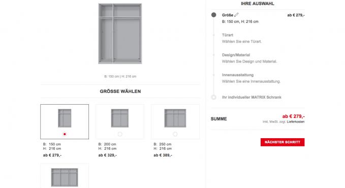 xxxlshop schrank konfigurator testbericht konfigurator. Black Bedroom Furniture Sets. Home Design Ideas